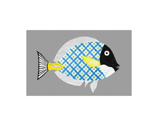 Grandin Road - From The Tropical Outdoor Wall Art V - Handmade canvas artwork of a tropical fish replete with blue and white polka dots. Giclée printing captures fine detail. Canvas is hand-stretched onto a warp-resistant wooden frame. UV-protected ink and coating keep the colors of the canvas true-blue (plus yellow, black and more). Arrives ready to hang. The brilliant blue and white polka dots of our From the Tropical I Outdoor Wall Art are just fishing for compliments. The natural and artistic worlds collide in a playful representation of a tropical fish brought to life through imaginative application of pattern and color. An easy way to bring the magic of the undersea world to any outdoor wall – with an artful twist.  . Giclee printing captures fine detail .  .  .  . Made in USA.