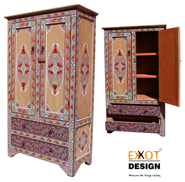Moroccan handmade wooden hand painting wardrobe for Moroccan hand painted furniture