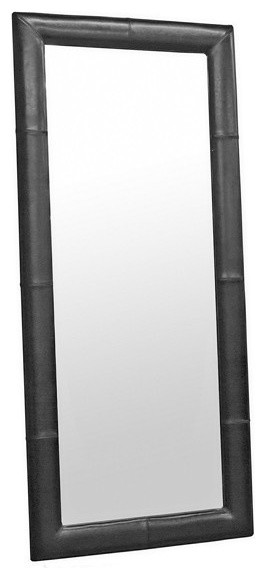 Floor mirror with black leather frame contemporary for Black framed floor mirror