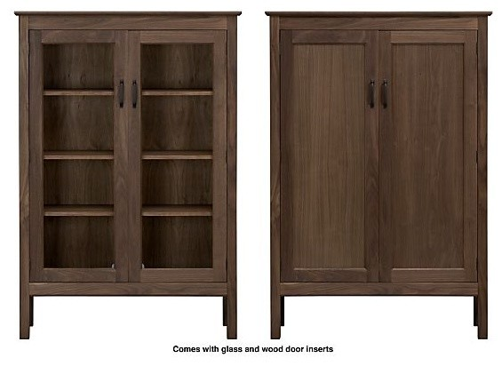 Ainsworth Walnut 2-Door Cabinet with Wood/Glass Doors - Contemporary - Storage Cabinets - by ...