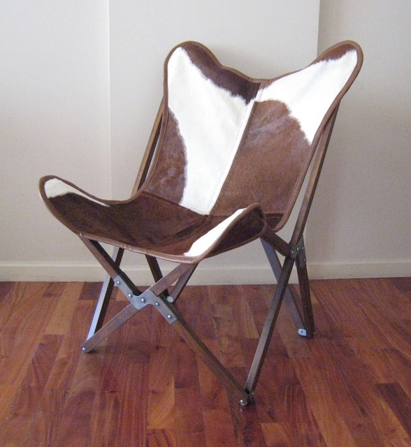 """ORIGINAL BKF """"Tripo"""" BUTTERFLY CHAIR IN COWHIDE WITH A WOOD FRAME eclectic-living-room-chairs"""
