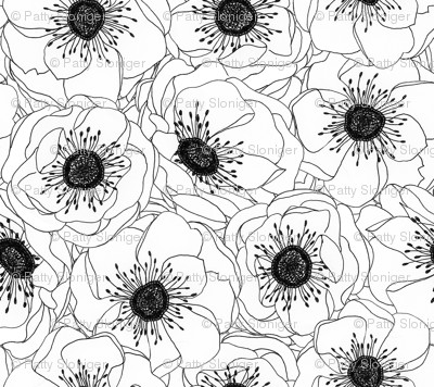 White Anemones Fabric by