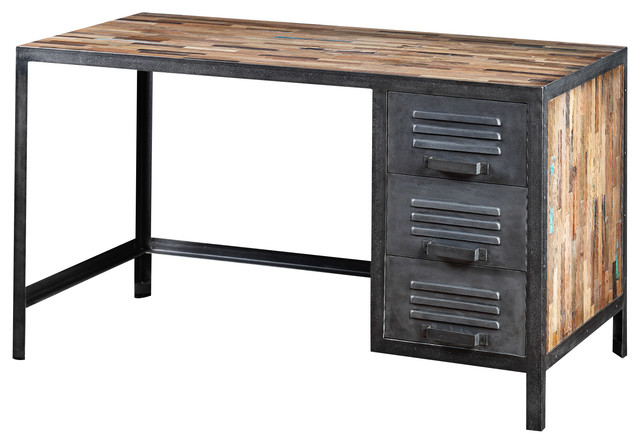 Locker Style Desk Made of Recycled Wood and Industrial Metal - Industrial - Desks And Hutches ...