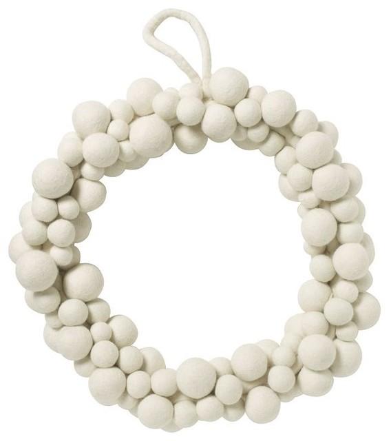 Felt Ball Wreath, White modern-wreaths-and-garlands