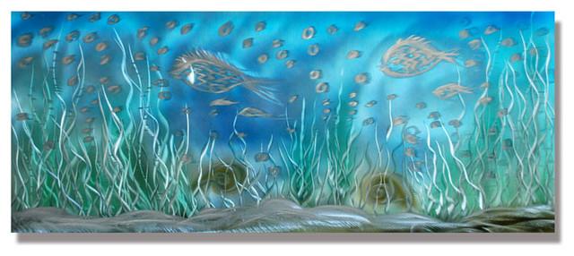 Fancy fish school handcrafted metal wall art sculpture for School of fish metal wall art