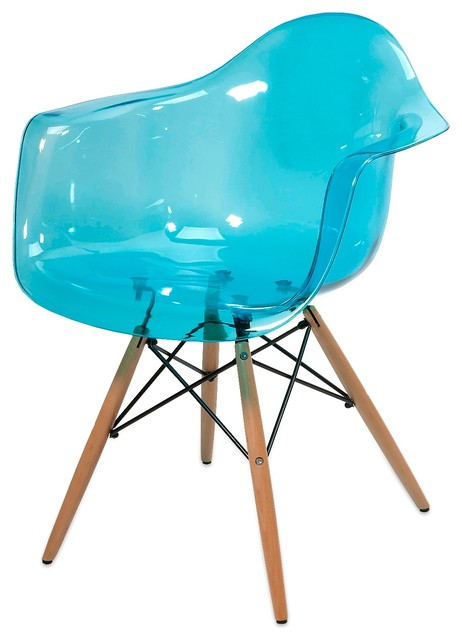 modern acrylic declan teal blue transparent chair w wood leg modern