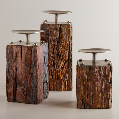 Recycled wood and metal pillar candleholders eclectic for Diy wooden pillar candle holders