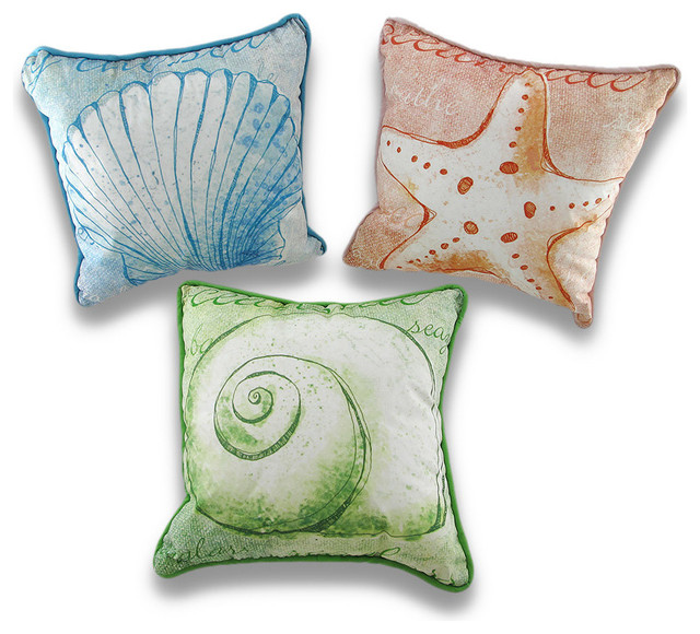 Set of 3 Watercolor Style Decorative Nautical Throw Pillows 10 In. - Beach Style - Decorative ...