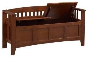 Storage Bench Short Split Seat Storage traditional-accent-and-storage-benches