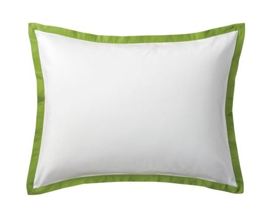 """Serena & Lily - Grass Border Frame Sham - A clean, simple design for those who crave a quieter bed. Sham features crisp 300-thread-count 100% cotton sateen with 1"""" band in Grass."""