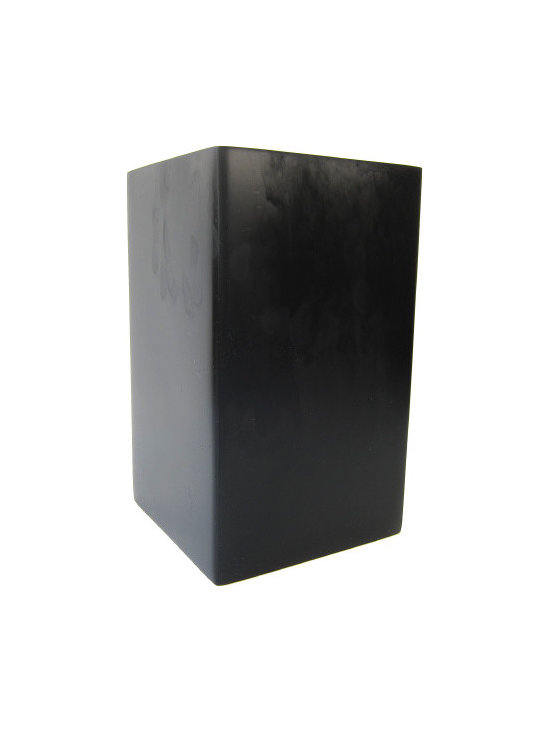 Martha Sturdy resin square vase in charcoal marble - Charcoal marble resin square vase. Available in multiple sizes and colours.