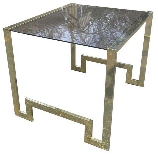 Brass & Smoked Glass Greek Key End or Side Table modern-side-tables ...