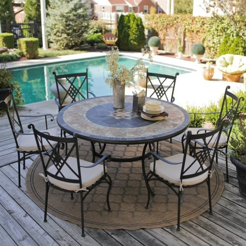 Picnic Table Dining Room Sets: Palazetto Strada 60-inch Round Mosaic Dining Set