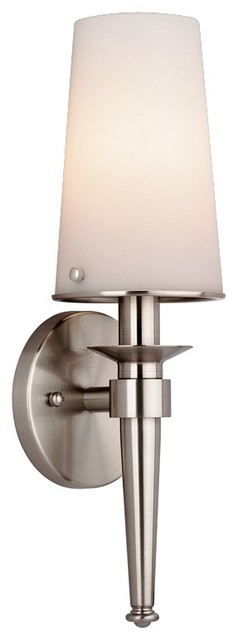 """Contemporary Philips Torch Collection 14 1/2"""" Satin Nickel Wall Sconce contemporary-wall-sconces"""