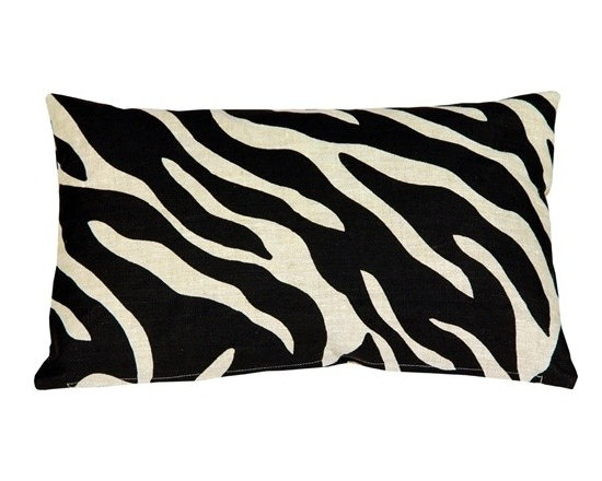Pillow Decor - Pillow Decor - Linen Zebra Print 12 x 20 Throw Pillow - A bold black zebra pattern print is splashed across this light sand, 100% linen pillow, front and back. Unlike many other scaled down zebra print designs, this pattern is large enough really do the zebra justice. The more neutral and less contrasting black on sand color combination gives this 12 x 20 rectangular pillow a calm versatility.