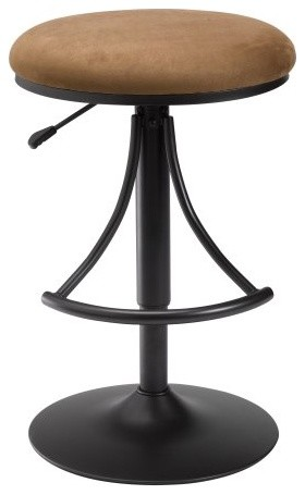 Hillsdale Venus Adjustable Height Backless Swivel Bar Stool - Bear Suede Seat contemporary-bar-stools-and-counter-stools
