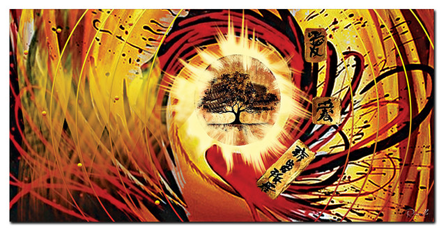 """Tree of Life"" - Asia Red Abstract Artwork- 1 panel - 32 x 16 in asian-prints-and-posters"
