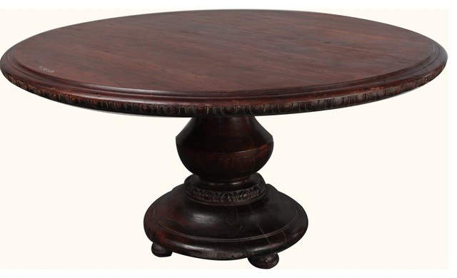 "Rustic Reclaimed Wood Pedestal 60"" Round Dining Table - Dining Tables - by Sierra Living Concepts"