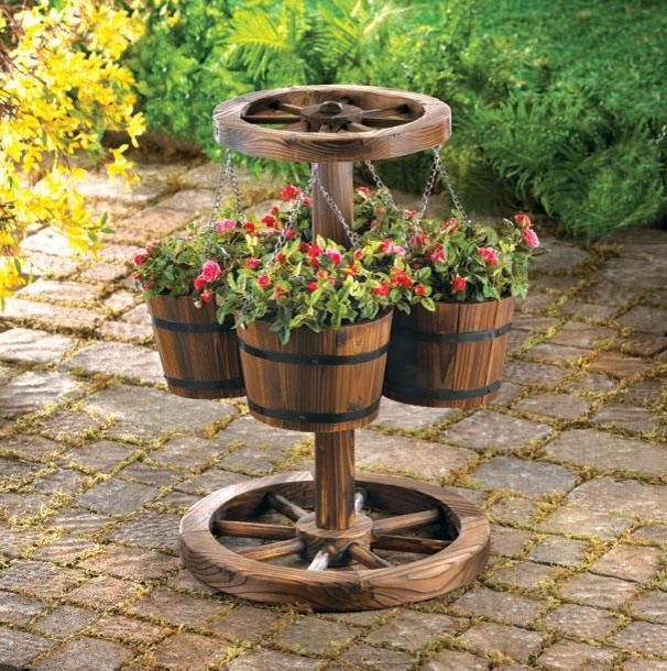 Western decor wood barrel planter eclectic outdoor for Wooden garden decorations