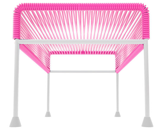 Adam Ottoman, White Frame With Pink Weave - Sleek woven vinyl makes this coffee table stand really pop. It's a great option for indoor and outdoor use since the vinyl is UV protected and the metal base is galvanized. The only challenge would be deciding on your favorite color top to pair with the crisp white base.