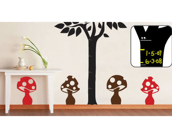 """Writable wall decals - This super cute decal pack comes with an 80"""" high Measure Me Tree blackboard and 4  9""""x14"""" mushrooms vinyl decals. This pack can be used to decorate your kids' room while tracking his/hers growth since you can write on the tree with chalk. The tree comes in black only, but you can choose from 24 different colors for the mushrooms. Price is $125."""