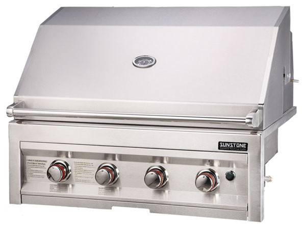"""34"""" NG 4 Burner Barbecue Grill with Lights contemporary-outdoor-grills"""