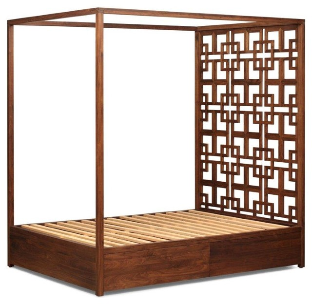 Solid Walnut Four Poster Bed With Storage Contemporary