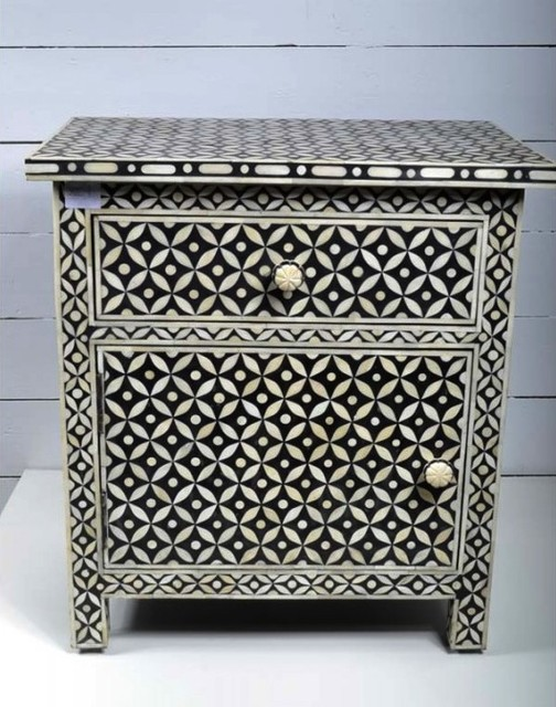 Pair of Bone Inlay Bedside Tables mediterranean-nightstands-and-bedside-tables