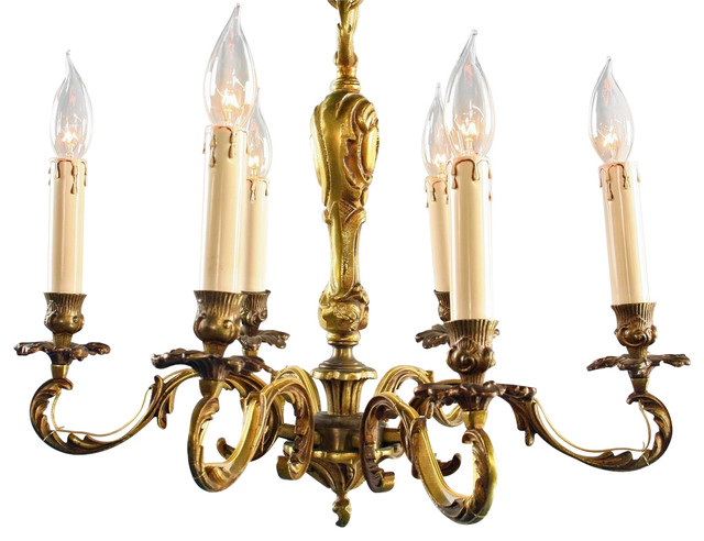 Consigned Antique French Rococo Chandelier - Orig. For Wax Candles traditional-chandeliers
