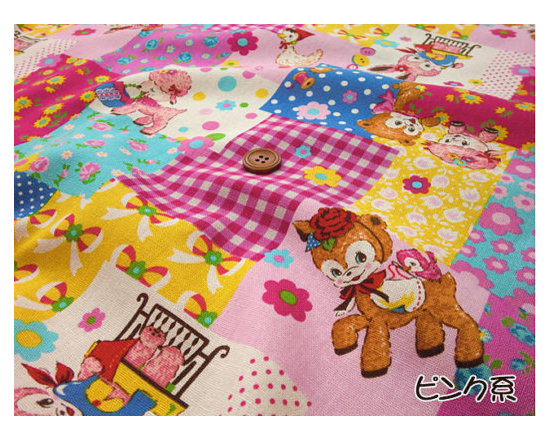 Kawaii Wonderland - A vintage theme cute fabric with kawaii deers and rabbits ... cute for a small cushion in kids' room.