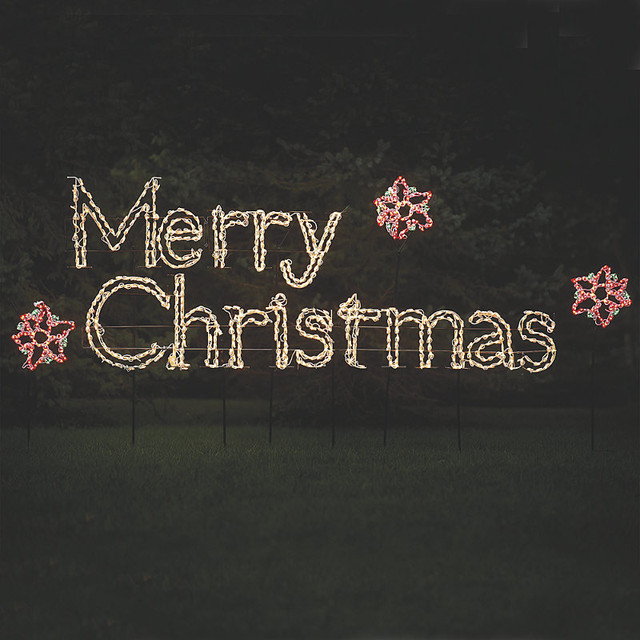 Merry Christmas Decorations Outdoor : Merry christmas lighted display sign traditional