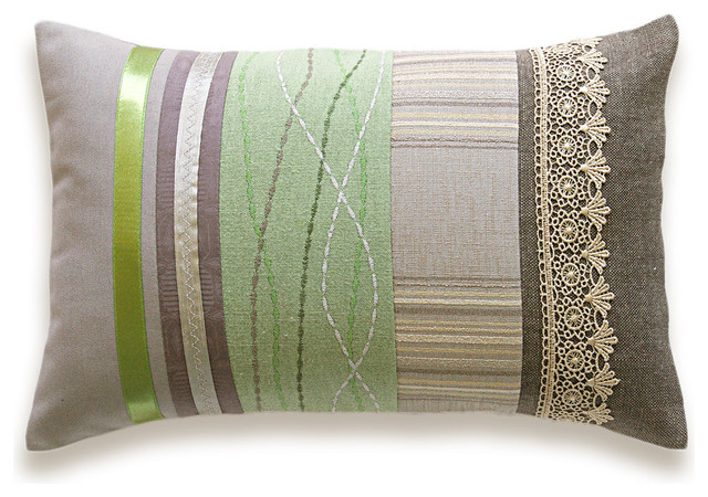 Eclectic Pillow Cases : Green Beige Lumbar Pillow Case OOAK 12 x 18 in IRMA DESIGN