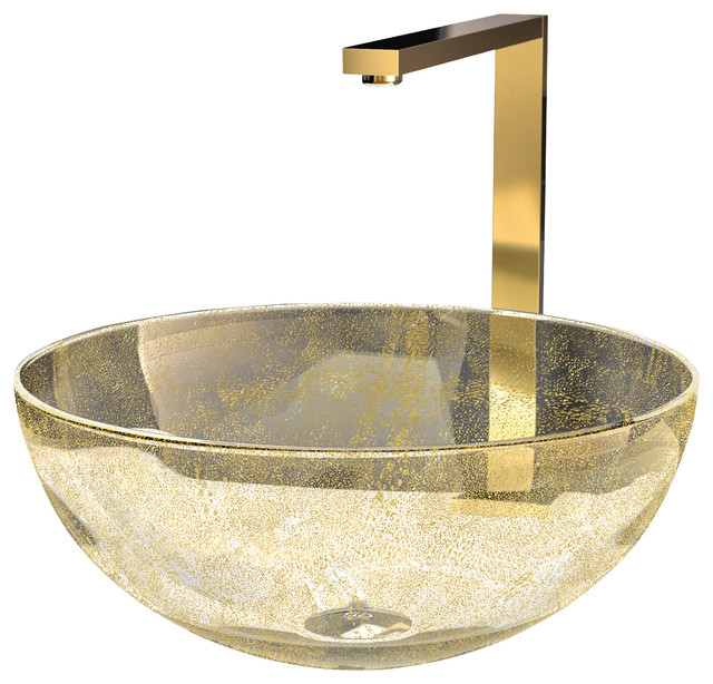 Murano Laguna Luxury Glass Vessel Sink, Gold - Eclectic - Bathroom ...