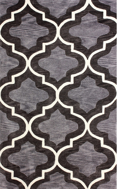 nuLOOM Hand-tufted Moroccan Trellis Grey Rug (8'6 x 11'6) contemporary-rugs
