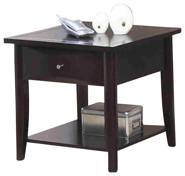 coaster whitehall end table with shelf and drawer in. Black Bedroom Furniture Sets. Home Design Ideas