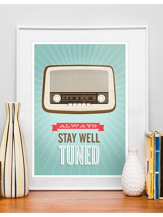 Mid Century Art Retro vintage radio poster typography by handz -