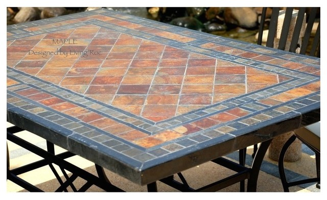 STONE GARDEN PATIO MOSAIC SLATE TABLE 78quot MAPLE  : craftsman outdoor dining tables from www.houzz.com size 640 x 392 jpeg 83kB