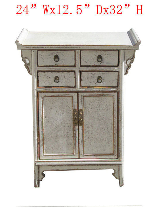 White Nightstand End Table Chinese Ming Style Cabinet - This is a Chinese ming style nightstand end table which is made of solid elm wood.
