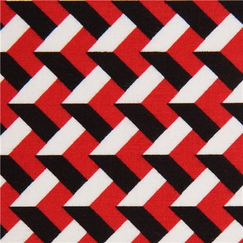 Red white black 3d pattern fabric with by robert kaufman usa fabric by modes group ltd