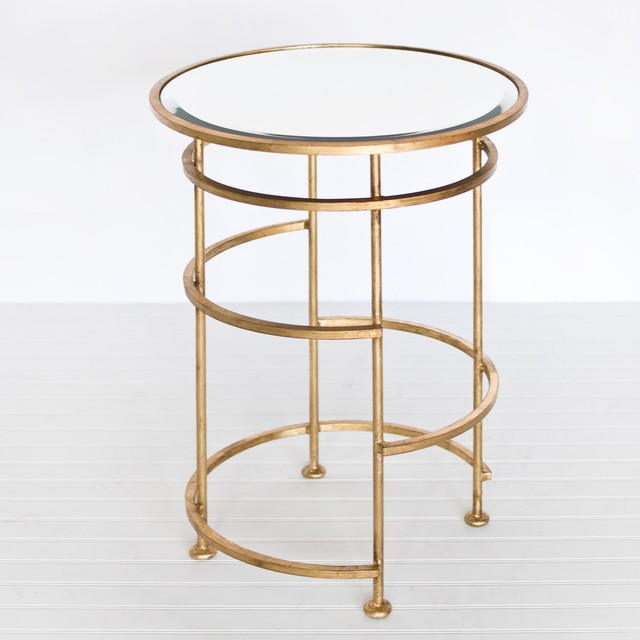 Worlds away saturn ringed round side table in gold leaf for Round gold side table