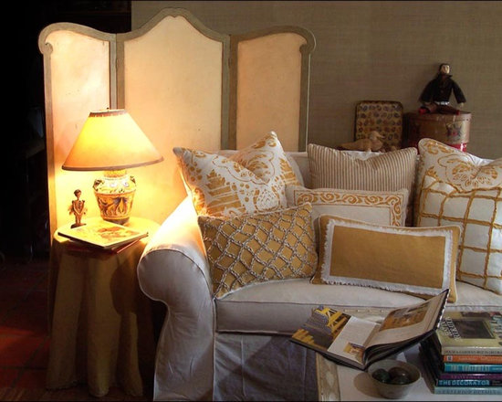 Custom & Ready Made Pillows ~ Yellow and White - Custom Made and Designer Original Pillows Including Hand Stencil Printed and Hand-cut and Appliqued Chenille.  Vignette of Yellow and White Pillows.  Design and Fabrication - Carol Tate.  Couture Custom Workroom Services Available. Artisanaworks
