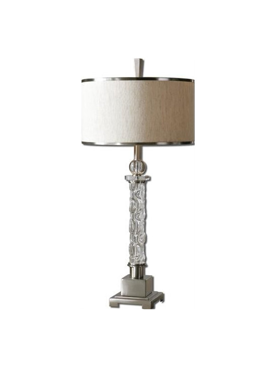 Uttermost Campania - Carved glass base with crystal accents and brushed aluminum details. The round hardback drum shade is a rusty beige linen fabric with natural slubbing and brushed aluminum trim.