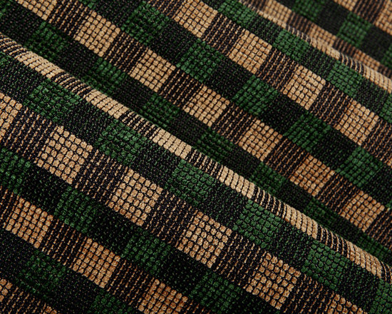 District Check Upholstery in Forest - District Check Upholstery in Forest Green & Tan check patterned chenille. Alternating textures make this a dimensional fabric perfect for upholstering! Made in the USA with 72% cotton and 28% rayon with a width of 54″. Cleaning Code S. Passes 30,000 double rubs on the Wyzenbeek Method abrasion test. Repeat: 2″ X 2″.