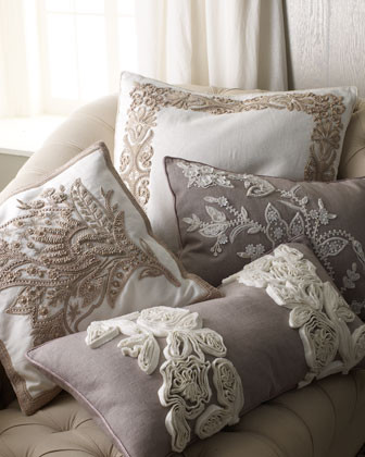 Ankasa Cortona Bed Linens Taupe Pillow with Dimensional Ruffle Flowers, 15 x 30 traditional-bed-pillows