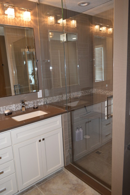 Master Bath in White and Gray - contemporary - bathroom ...
