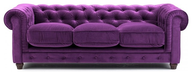 Purple Velvet Chesterfield Sofa Three Seat Victorian