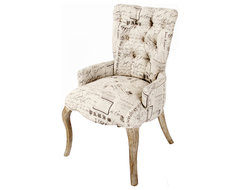 Iris Tufted Vanity Dining Chair with Literary French Script transitional-dining-chairs
