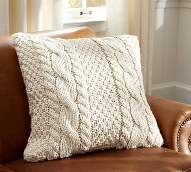 Hand Knit Cable Pillow Cover Contemporary Decorative