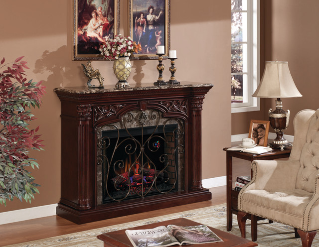 Astoria Infrared Electric Fireplace Mantel in Empire Cherry - 33WM0194-C232 traditional-indoor-fireplaces