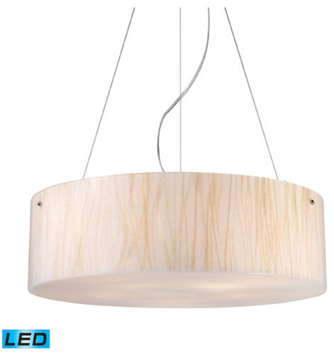 Modern Organics Five Light LED Pendant In White Sawgrass Material In Polished Ch modern-ceiling-lighting